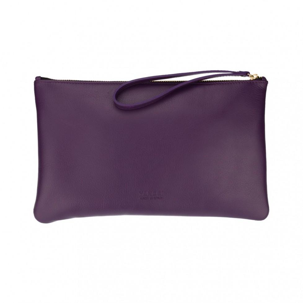 Bolsa grande de mano de color violeta