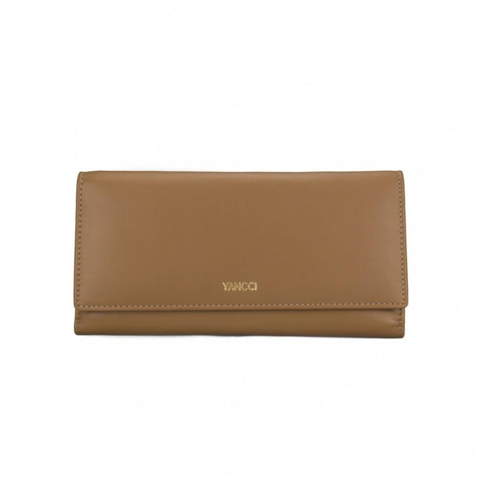 Monedero billetero señora marca Yancci, de color cuero