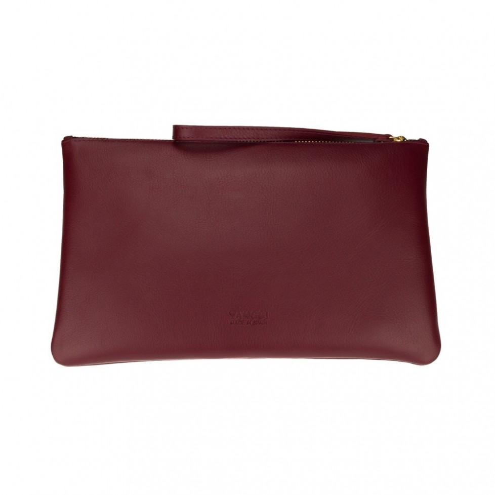 Bolsa grande de mano de color burdeos