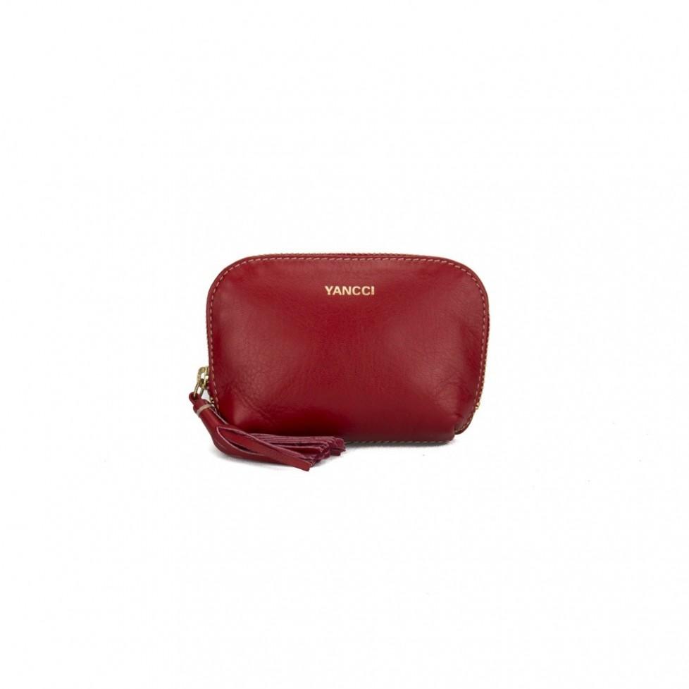 Monedero marca Yancci, de color rojo