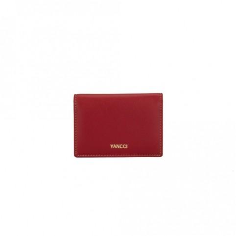 Tarjetero marca Yancci, de color rojo